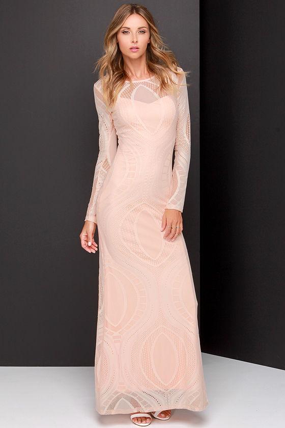 Lovely Peach Dress - Lace Dress - Long Sleeve Dress - Maxi Dress ...