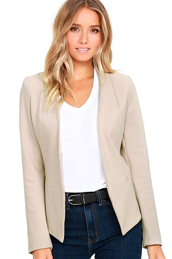 """Beautiful taupe colored lace lined blazer. Size small, measures 16"""" from underarm to underarm lying flat. Worn once in a pageant interview."""