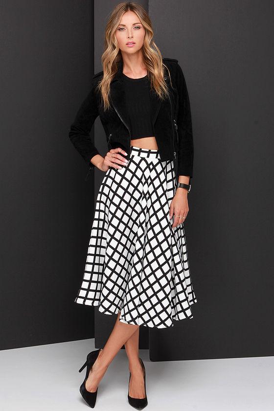 Cute Black and Ivory Skirt - Grid Print Skirt - Midi Skirt - $48.00