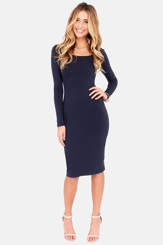 Sexy Blue Dress - Bodycon Dress - Long Sleeve Dress - Midi Dress ...