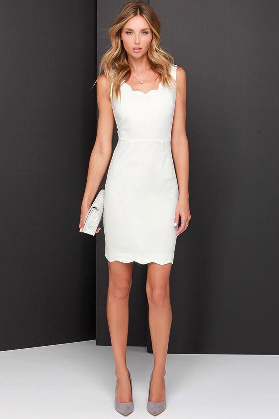Cute Ivory Dress - Scalloped Dress - Cocktail Dress - White Dress ...