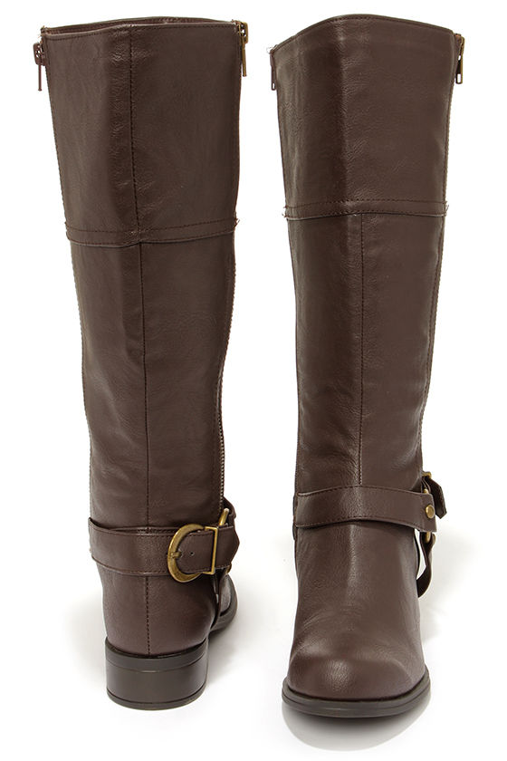 Soda Salsa Brown and Gold Harness Riding Boots at Lulus.com!