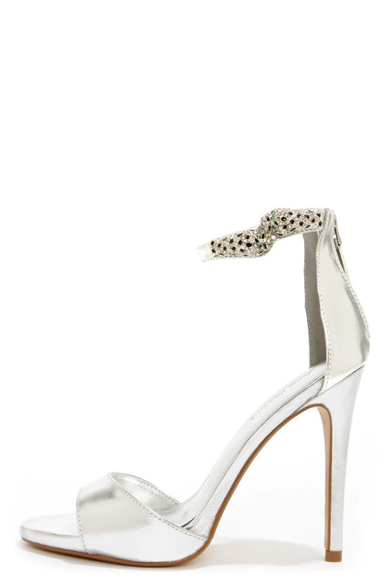 9eb526f0ee1 Sexy Silver Heels - Ankle Strap Heels - Dress Sandals -  45.00