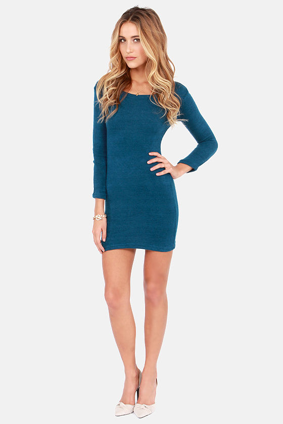 Knitting on the Dock of the Bay Blue Sweater Dress at Lulus.com!