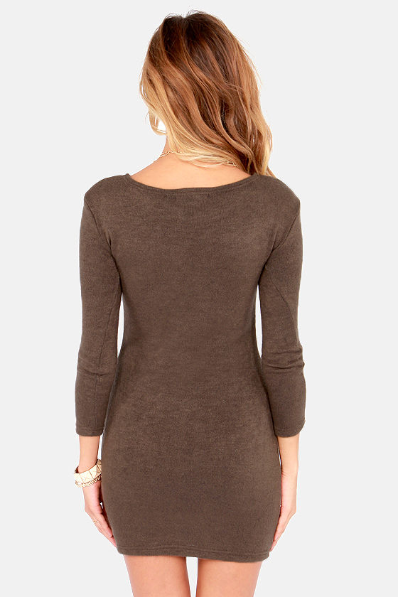 Knitting on the Dock of the Bay Brown Sweater Dress at Lulus.com!