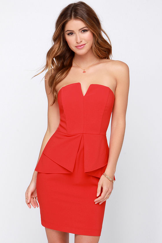 Pretty Red Dress - Strapless Dress - Peplum Dress - $84.00