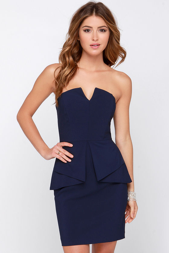 Pretty Navy Blue Dress - Strapless Dress - Peplum Dress - $84.00