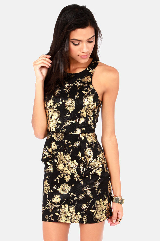 Sexy Black Dress - Floral Print Dress - Gold Dress - Peplum Dress ...