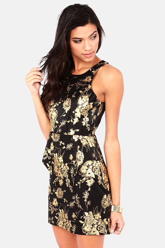 Rose and Cons Gold and Black Dress at Lulus.com!