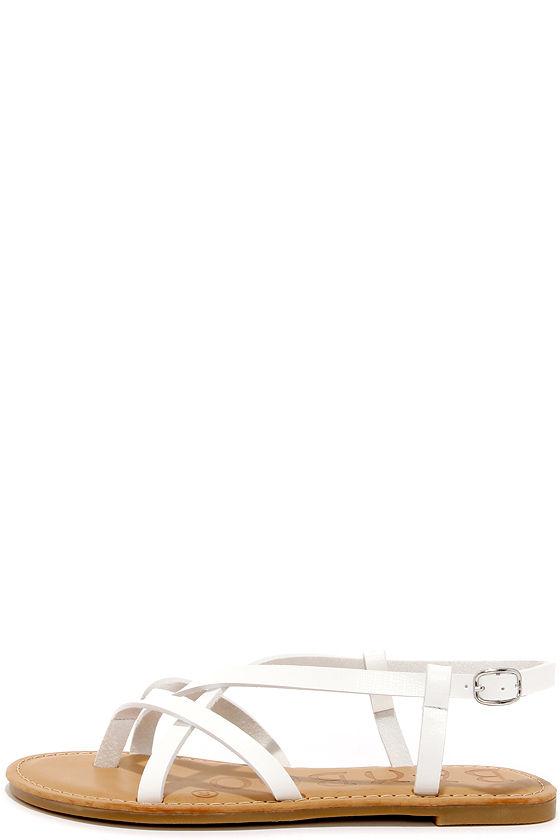 e3b5c8e0f217 Cute White Sandals - Flat Sandals - Thong Sandals -  18.00