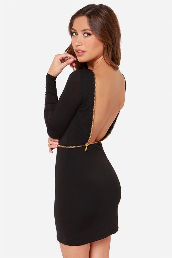 Backless Black Party Dress