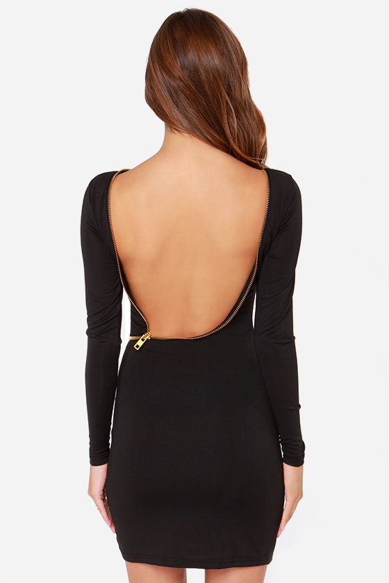 Let Her Zip! Backless Black Dress at Lulus.com!