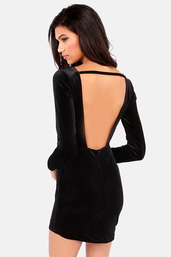 Sexy Black Dress Backless Dress Velvet Dress 4800