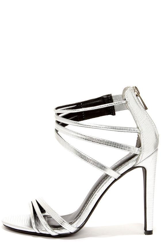 Pretty Silver Heels - High Heel Sandals - Dress Sandals - $31.00