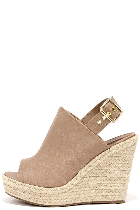 f589ab3070a Cute Beige Wedges - Peep Toe Wedges - Espadrille Wedges -  30.00
