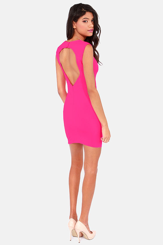 Aim For Fame Backless Hot Pink Dress at Lulus.com!