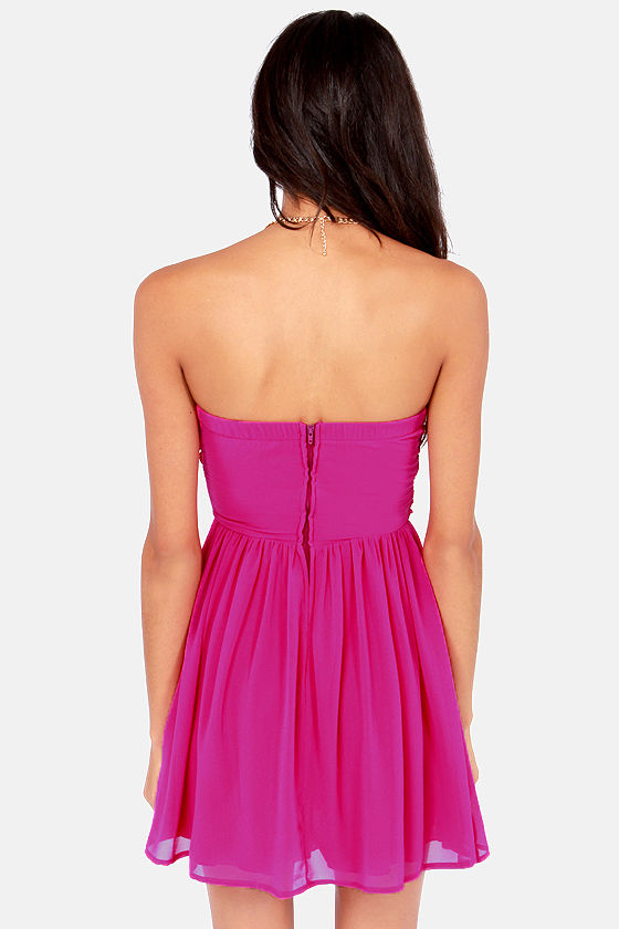 LULUS Exclusive Sash Flow Strapless Magenta Dress at Lulus.com!