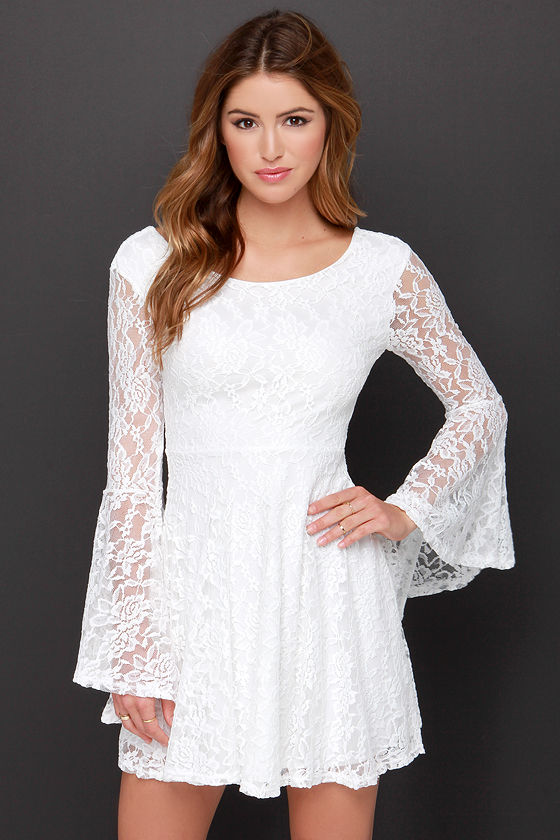 Cute White Dress - Long Sleeve Dress - Lace Dress - $38.00