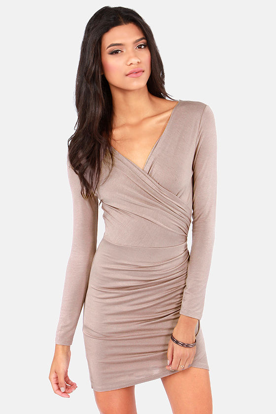 Cute Taupe Dress - Bodycon Dress - Long Sleeve Dress - $42.00