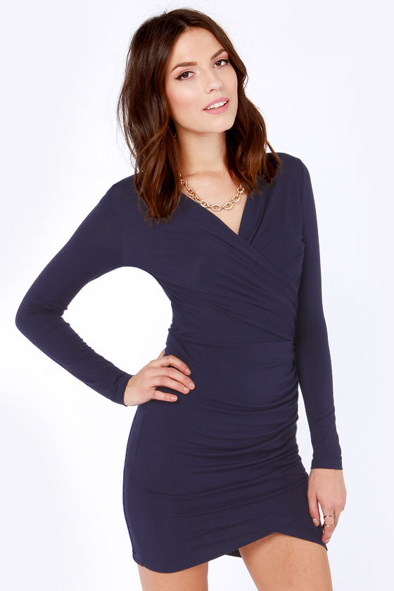 Cute Navy Blue Dress - Bodycon Dress - Long Sleeve Dress - $42.00