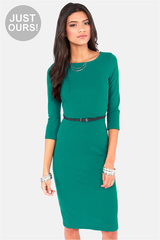 Cute Green Dress - Midi Dress - Bodycon Dress - Long Sleeve Dress ...