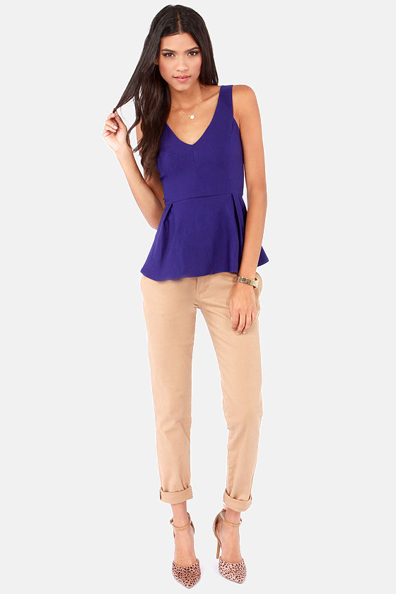 Flare Game Sleeveless Royal Blue Top at Lulus.com!