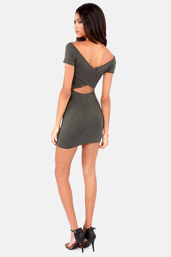 Show Off-the-Shoulder Cutout Grey Dress at Lulus.com!