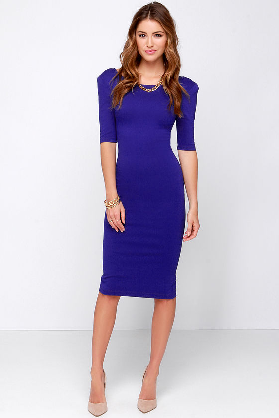 Cute Royal Blue Dress - Midi Dress - Bodycon Dress - Cocktail ...