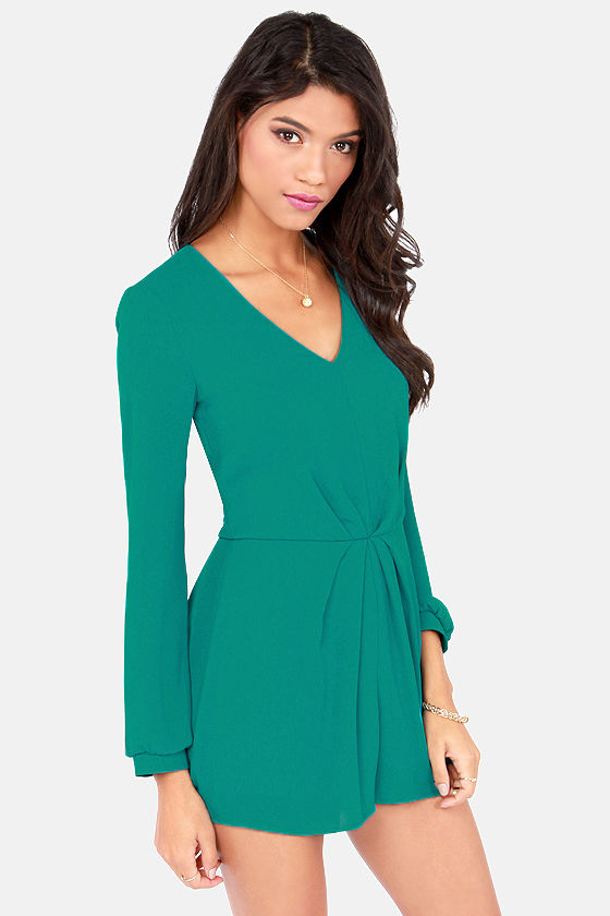 Romp and Roll Teal Long Sleeve Romper at Lulus.com!