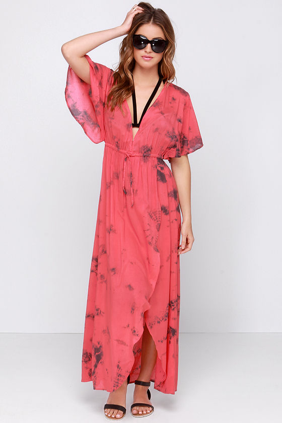 c990cc8bc55 Amuse Society Next Level - Coral Dress - Wrap Dress - Maxi Dress -  66.00