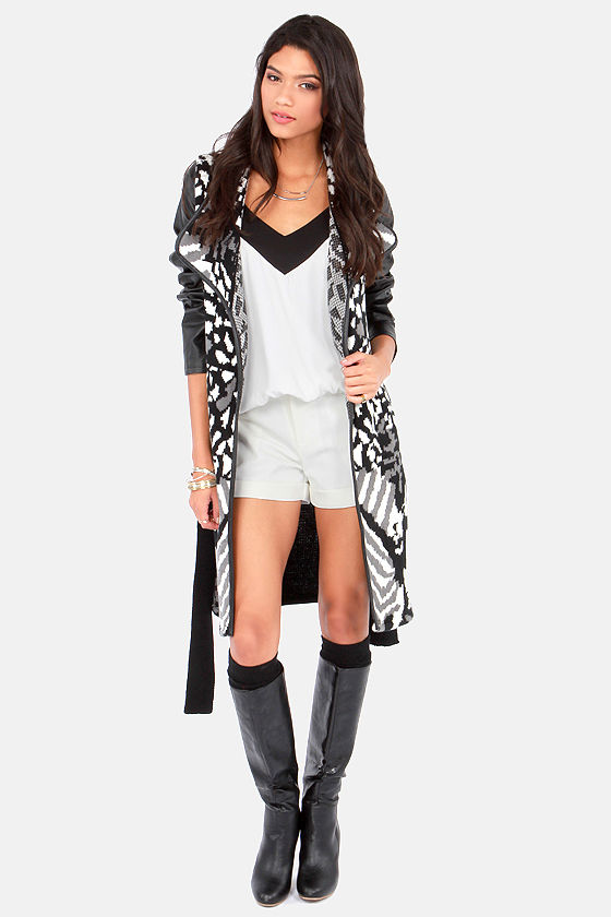 Opposites Attract White and Black Cardigan Sweater at Lulus.com!