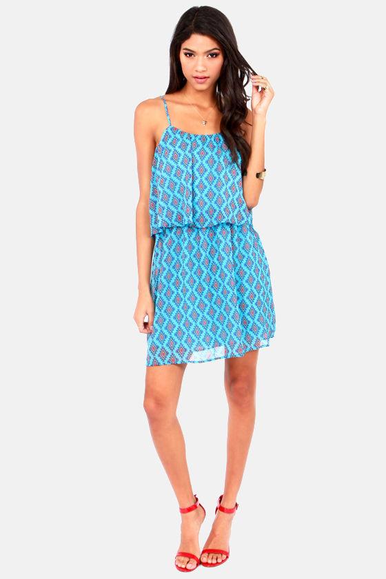 Olive & Oak Feelin' Good Tribes Blue Print Dress at Lulus.com!