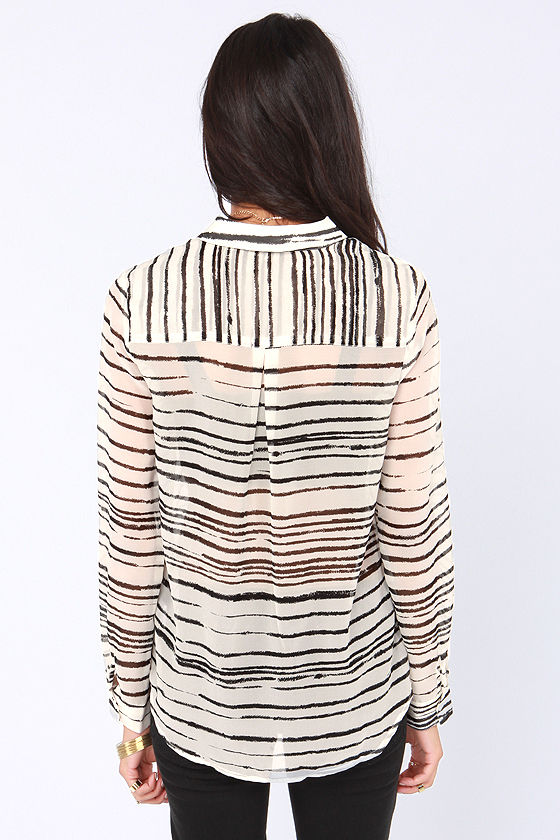 Olive & Oak Sketch My Drift Black and Ivory Striped Top at Lulus.com!