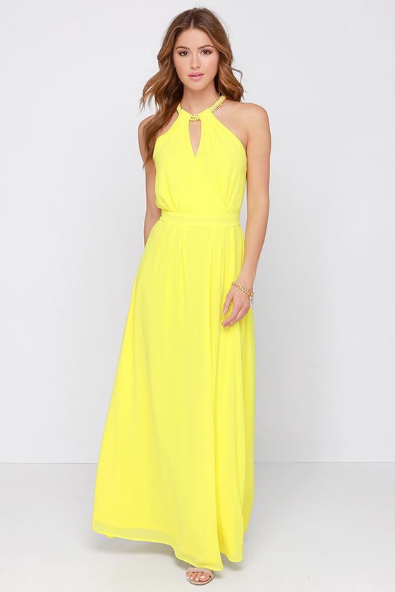 Pretty Yellow Dress Yellow Maxi Necklace Dress 49 00