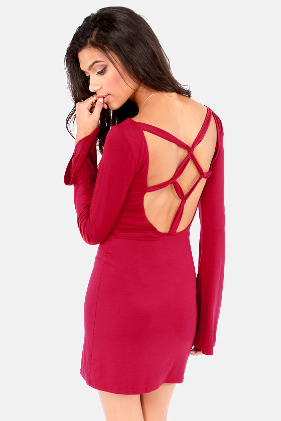 It's Getting Knot in Here Backless Wine Red Dress at Lulus.com!