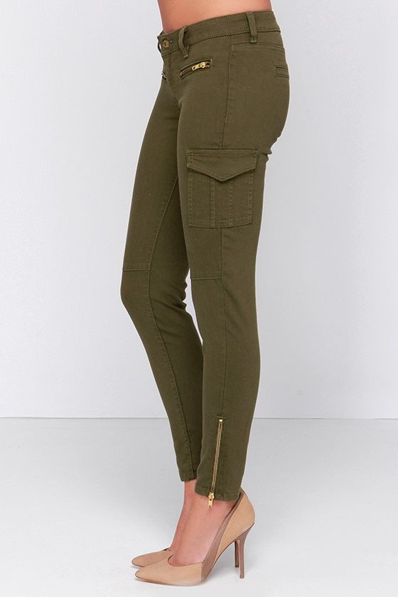 Cute Olive Green Pants - Skinny Jeans - Cargo Jeans - $48.00