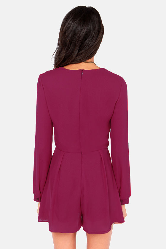 Romp and Roll Burgundy Long Sleeve Romper at Lulus.com!