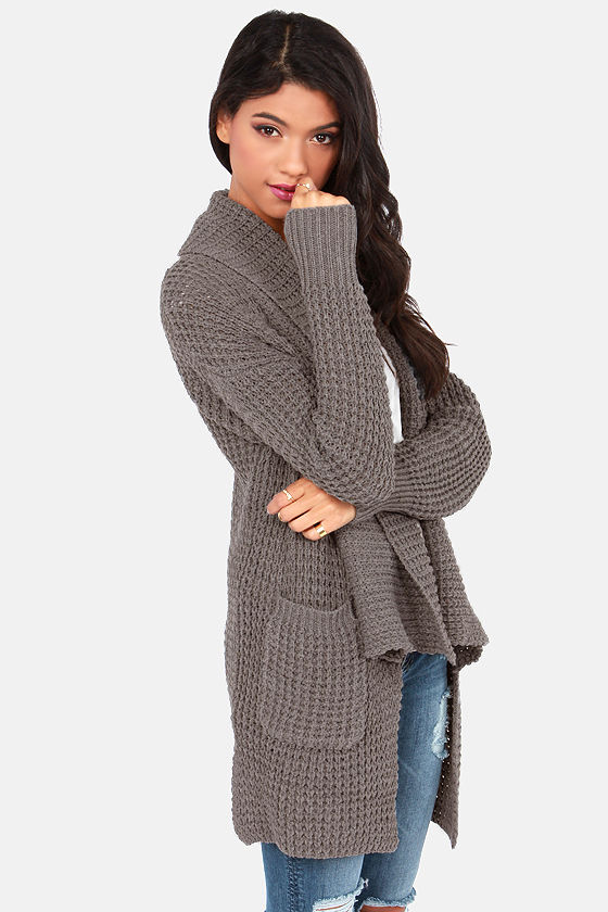 Cardi Party Grey Cardigan Sweater at Lulus.com!