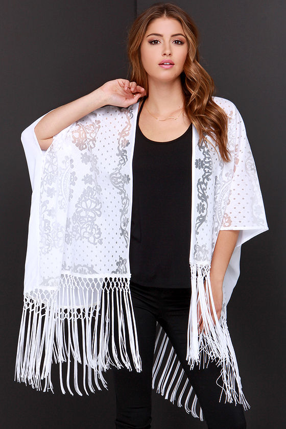 Chic White Top - Kimono Top - Lace Top - Fringe Top