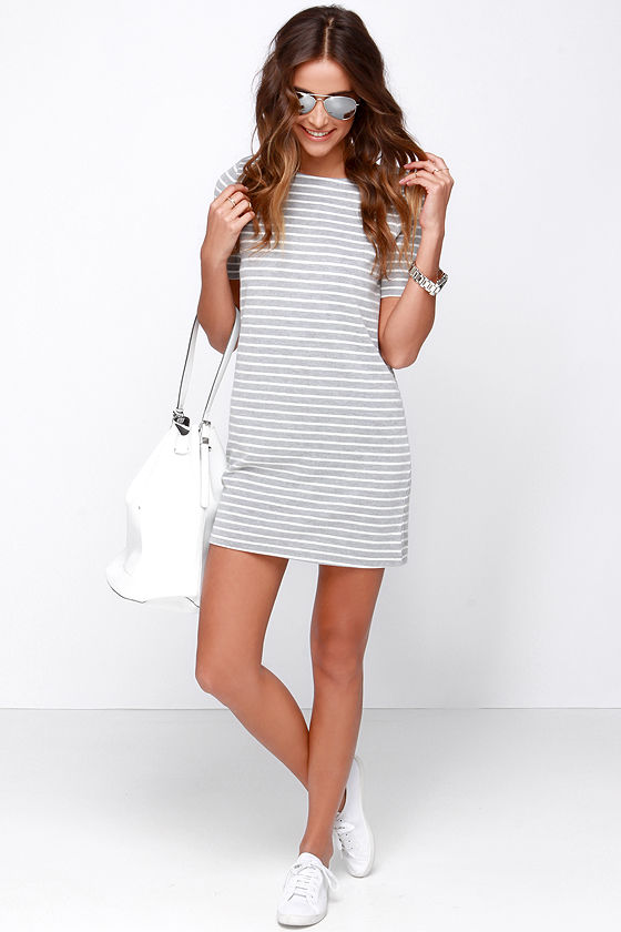 135e683ab16e Cute Grey Dress - Striped Dress - Knit Dress -  38.00