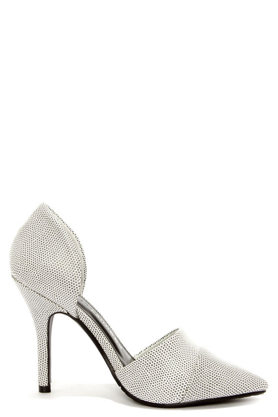 Chinese Laundry Side Kick Black and White Speckled D'Orsay Heels at Lulus.com!
