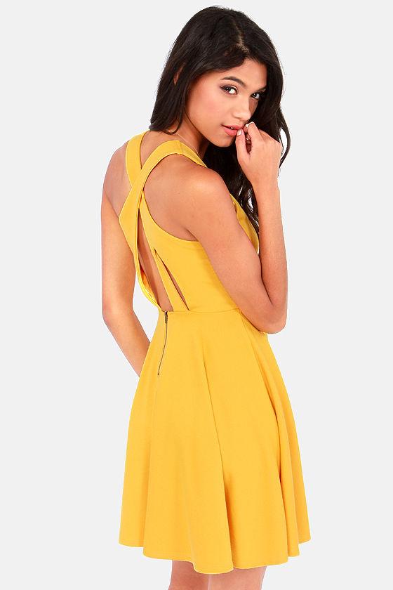 cute mustard yellow dress skater dress sleeveless