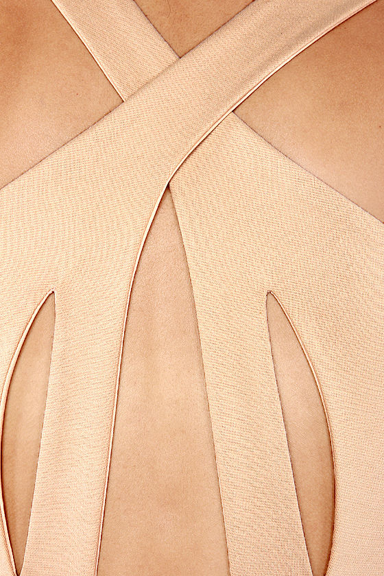 Crisscross The Line Beige Dress at Lulus.com!