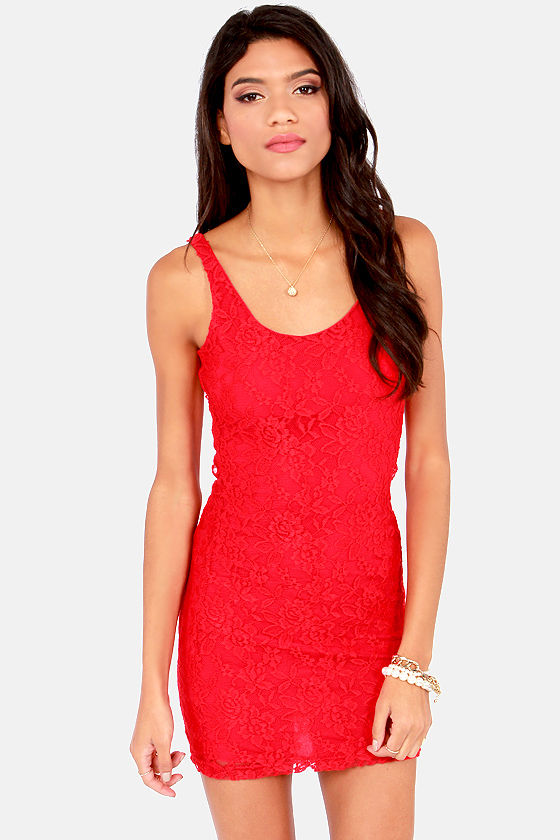67741973 Lucy Love Honeymoon Dress - Red Dress - Lace Dress - $56.00