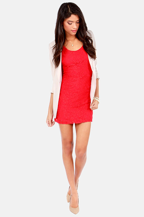 Lucy Love Honeymoon Bright Red Lace Dress at Lulus.com!