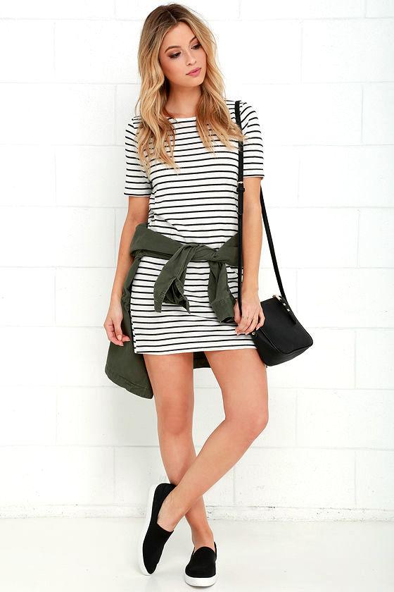 Law Bender Black and Ivory Striped Dress 2