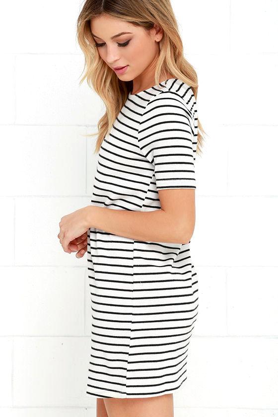 Law Bender Black and Ivory Striped Dress 3