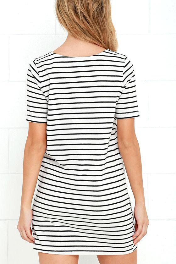 Law Bender Black and Ivory Striped Dress 4