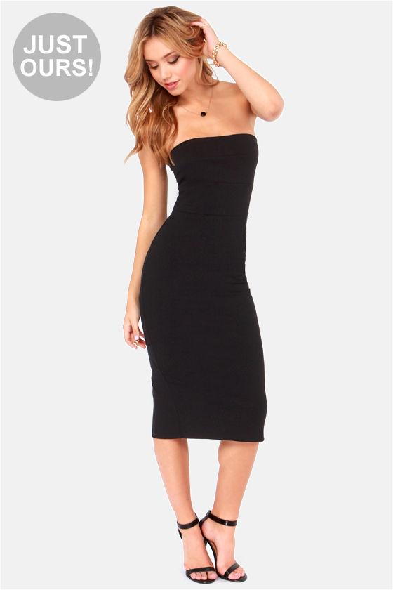 Sexy Black Dress - Strapless Dress - Midi Dress - $44.00