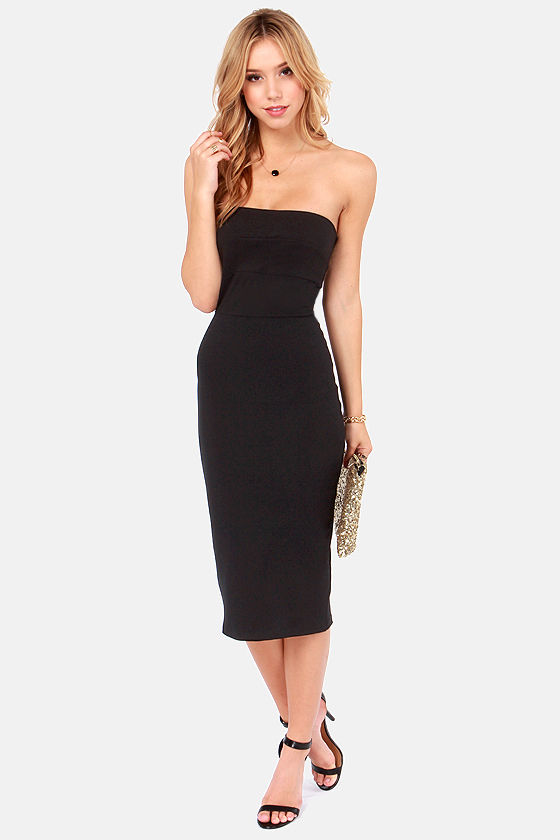 LULUS Exclusive Long Term In-Dress-ment Black Midi Dress at Lulus.com!